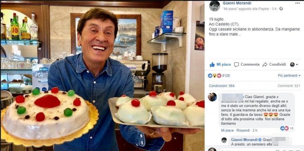 Gianni Morandi conquistato dalla pasticceria siciliana